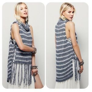 Free People Folksong Fringe Knit Sweater Tank XS